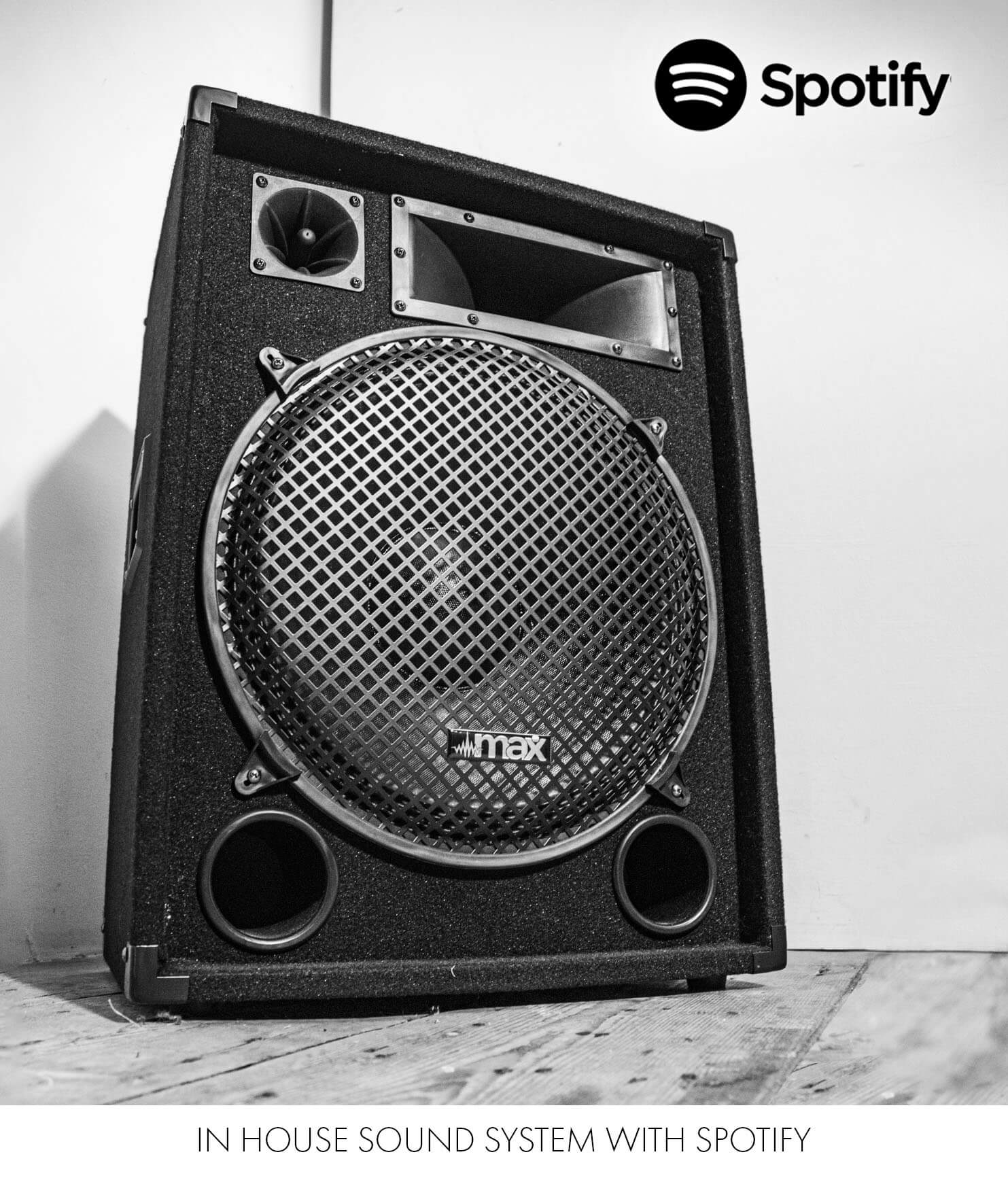 A speaker system with Spotify in the studio for music playback